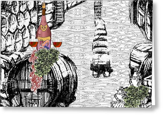 Cellar Mixed Media Greeting Cards - Wine Cellar Greeting Card by Belinda Threeths