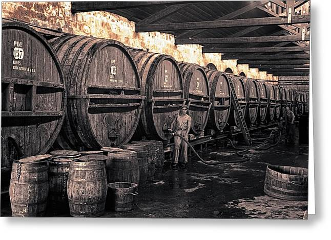 Fermentation Photographs Greeting Cards -  Fermentation Room Wine Cellar 1939 Greeting Card by Daniel Hagerman
