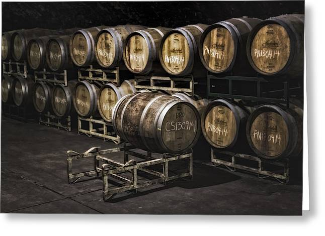 Fermentation Photographs Greeting Cards - Wine Cellar Fermentation Greeting Card by Susan Candelario