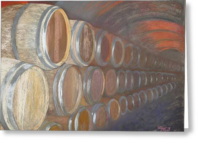 Barrel Pastels Greeting Cards - Wine Cellar Greeting Card by Marilyn Mull