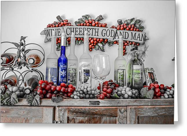 Wine-glass Greeting Cards - Wine Cheereth Greeting Card by Ray Gladman