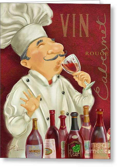 Figurative Mixed Media Greeting Cards - Wine Chef I Greeting Card by Shari Warren