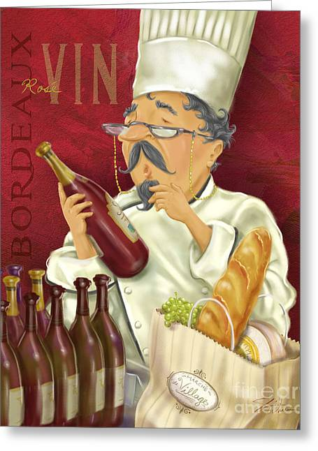 Dine Mixed Media Greeting Cards - Wine Chef IV Greeting Card by Shari Warren