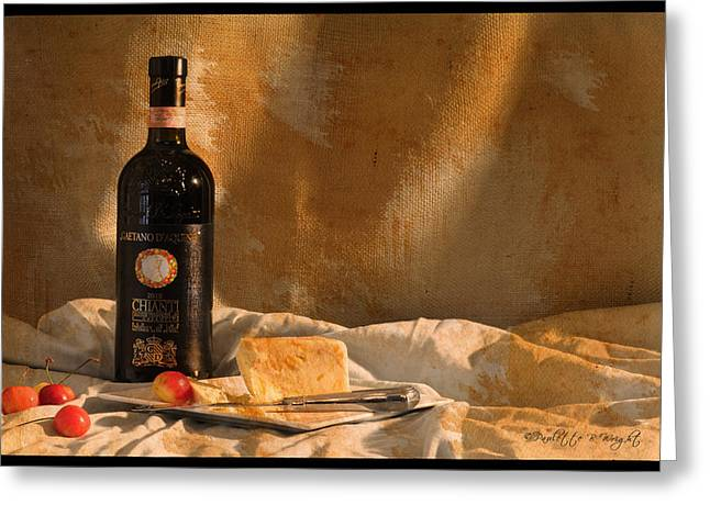 Chianti Digital Art Greeting Cards - Wine Cherries and Cheese Greeting Card by Paulette B Wright