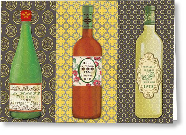 Geometric Art Greeting Cards - Wine Collection Greeting Card by Jean Plout