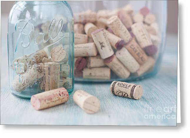 Canning Jar Greeting Cards - Wine Cork Collection Greeting Card by Kay Pickens