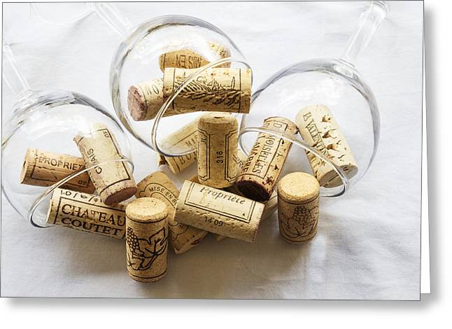 South Of France Greeting Cards - Wine Corks and Wine Glasses  Greeting Card by Nomad Art And  Design