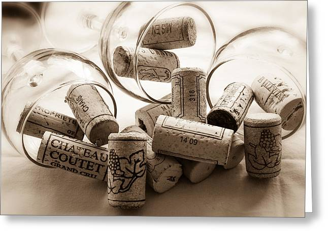 Wine Corks And Wine Glasses Toned Greeting Card by Georgia Fowler