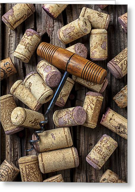 Vintner Greeting Cards - Wine corks celebration Greeting Card by Garry Gay