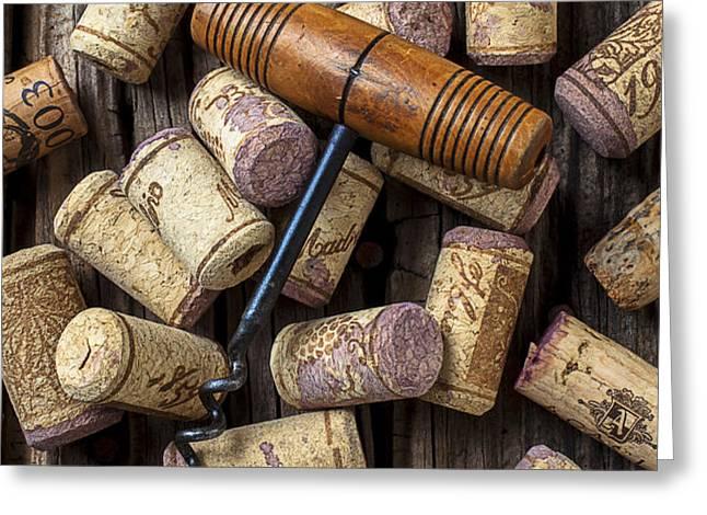 Wine corks celebration Greeting Card by Garry Gay