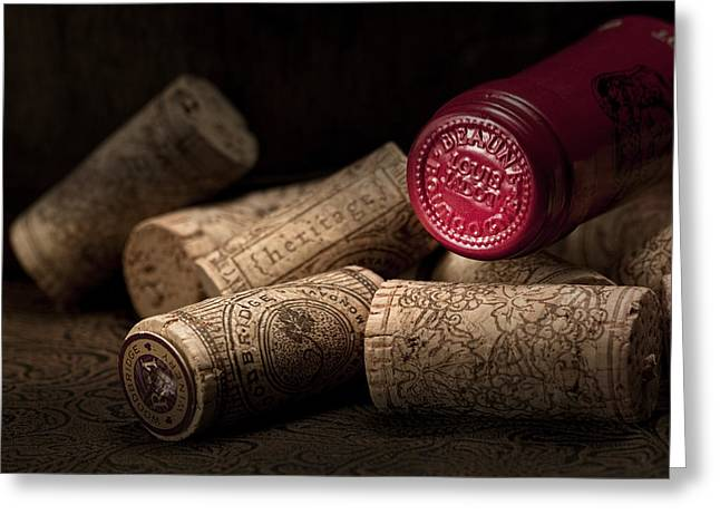 Wine-bottle Greeting Cards - Wine Corks Still Life IV Greeting Card by Tom Mc Nemar