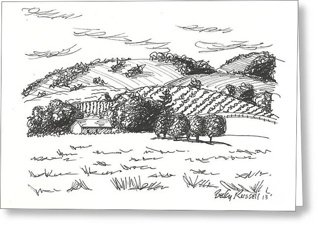 Wine Country. Drawings Greeting Cards - Wine Country Greeting Card by Becky Russell