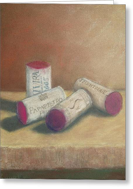 Sonoma Pastels Greeting Cards - Wine Country Corks Greeting Card by Ellen Minter