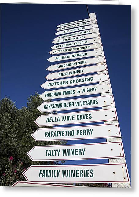 Wine Country. Greeting Cards - Wine country signs Greeting Card by Garry Gay