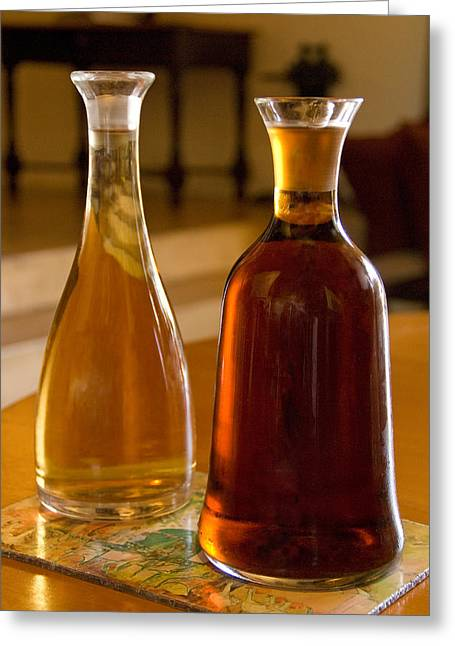 Winelands Greeting Cards - Wine decanters 1 Greeting Card by Dennis Cox WorldViews