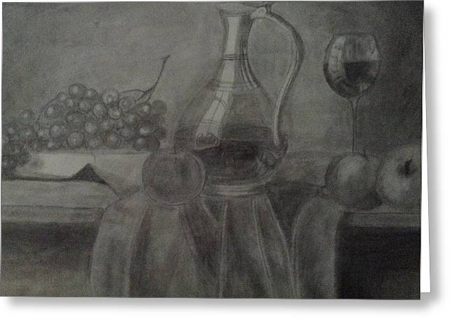 Wine-glass Drawings Greeting Cards - Wine Dinner Greeting Card by Janelle Merryman