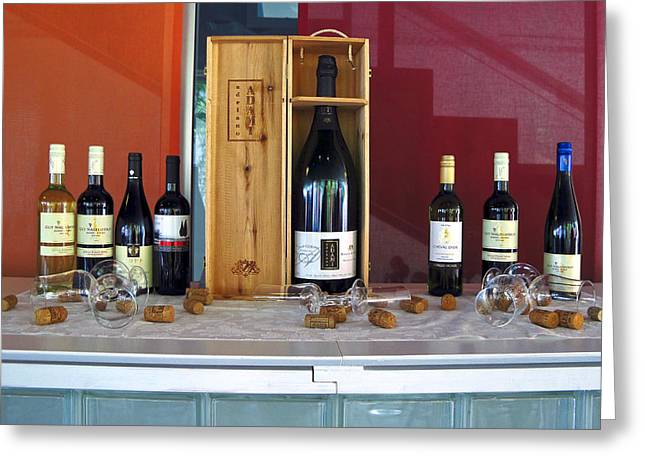 Wine Display Greeting Card by Sally Weigand