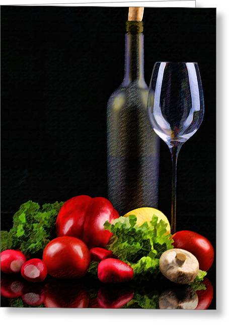 Sparkling Wines Digital Greeting Cards - Wine for a Salad Greeting Card by Elaine Plesser