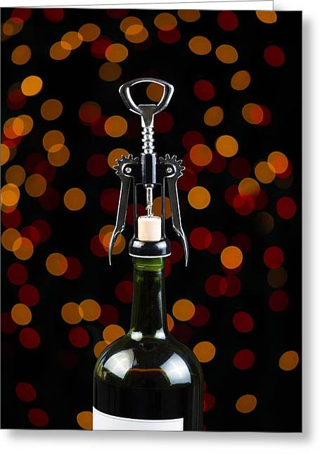 Glass Bottle Greeting Cards - Wine for the Holiday Season Greeting Card by Tom Baker