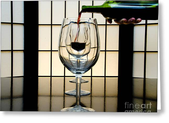 Wine Service Photographs Greeting Cards - Wine for Three Greeting Card by John Debar