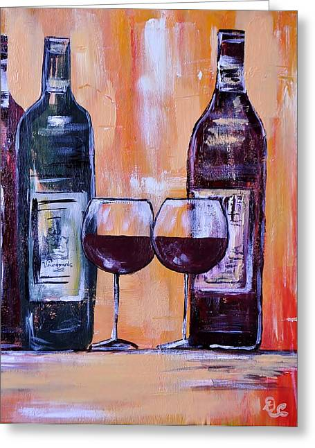 Pinot Noir Greeting Cards - Wine for Two Greeting Card by Diana  Cordova