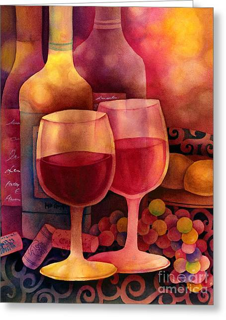 Wine-bottle Greeting Cards - Wine for Two Greeting Card by Hailey E Herrera