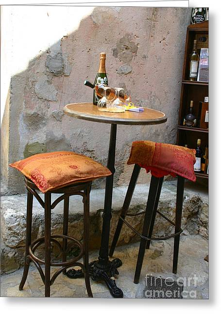 Table Wine Greeting Cards - Wine For Two Greeting Card by Holly C. Freeman