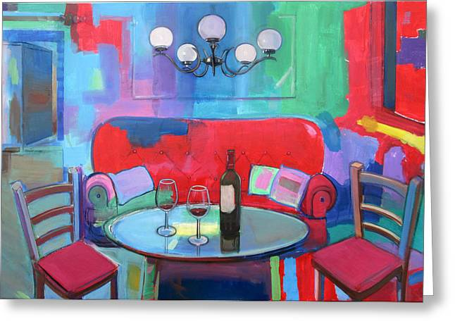 Wine Scene Greeting Cards - Wine for Two Greeting Card by Jorge Pinto