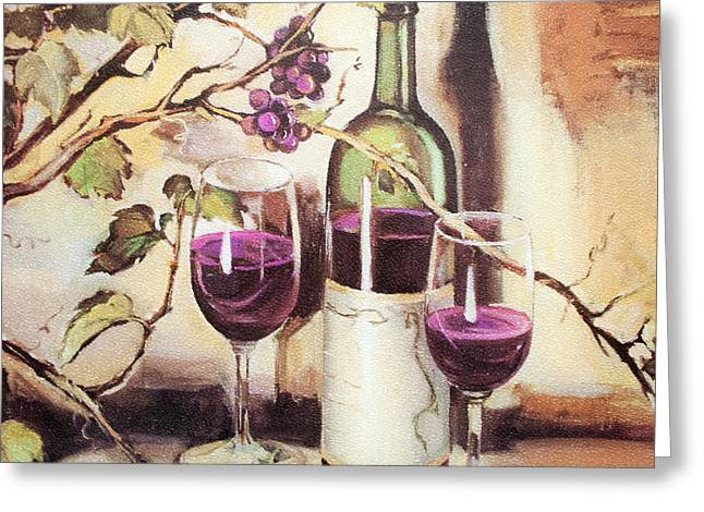 Wine For Two Greeting Cards - Wine for two Greeting Card by Linda Mans