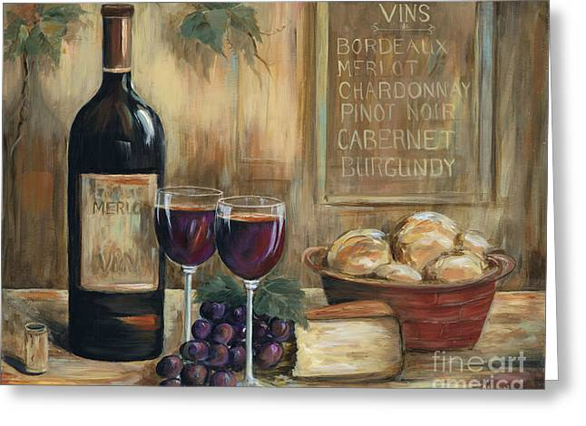 Wine-bottle Greeting Cards - Wine For Two Greeting Card by Marilyn Dunlap