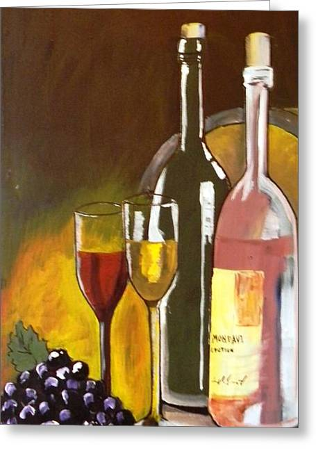Between The Two Greeting Cards - Wine for Two Greeting Card by Tricia PoulosLeonard