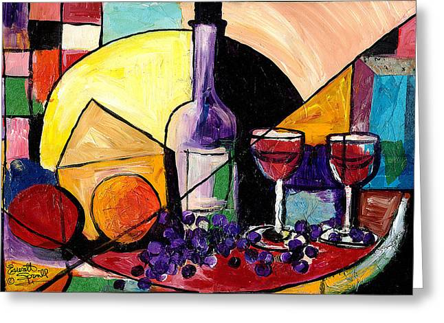 Everett Spruill Mixed Media Greeting Cards - Wine Fruit and Cheese for two Greeting Card by Everett Spruill