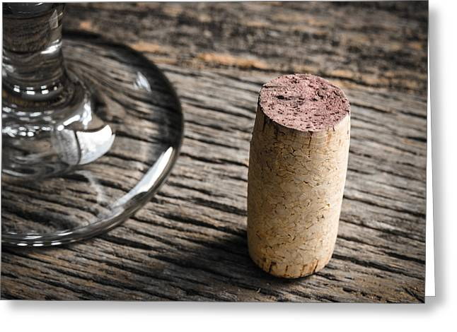 Italian Wine Greeting Cards - Wine Glass and Cork on Rustic Wooden Background Greeting Card by Brandon Bourdages
