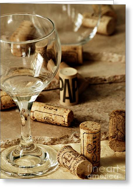 Wine Vineyard Greeting Cards - Wine Glass And Corks Greeting Card by HD Connelly