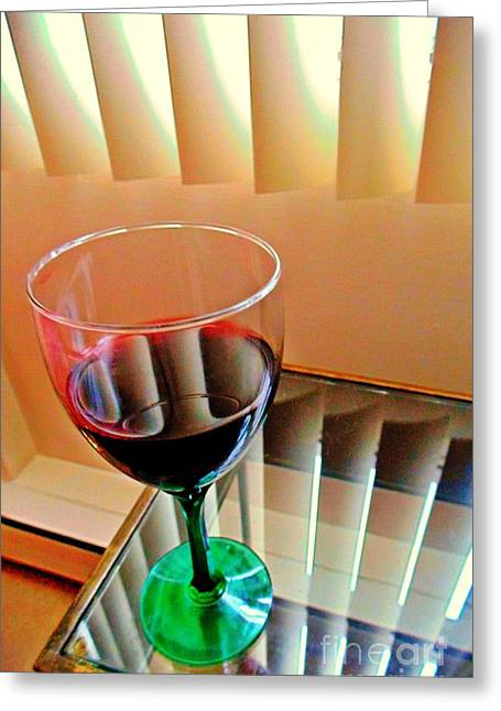 Glass Table Reflection Greeting Cards - Wine Glass Greeting Card by John Malone