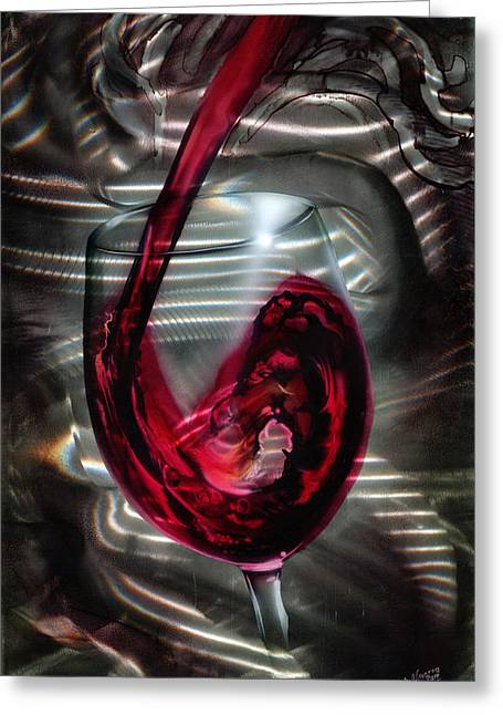 Wine Grapes Mixed Media Greeting Cards - Wine Glass Greeting Card by Luis  Navarro