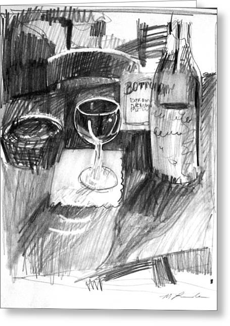 Wine-glass Drawings Greeting Cards - Wine Glass Greeting Card by Mark Lunde