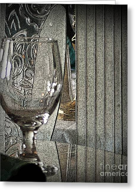 Table Wine Mixed Media Greeting Cards - Wine Glass on Table Greeting Card by Dennis Tyler