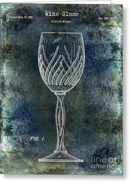 Wine Country. Greeting Cards - Wine Glass Patent Drawing Antique Blue Greeting Card by Jon Neidert