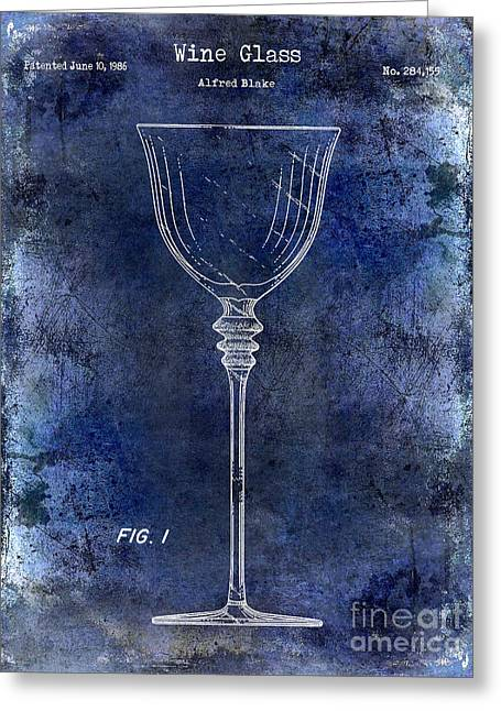 Merlot Greeting Cards - Wine Glass Patent Drawing Blue Greeting Card by Jon Neidert