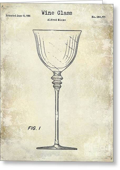 Decanter Greeting Cards - Wine Glass Patent Drawing Greeting Card by Jon Neidert