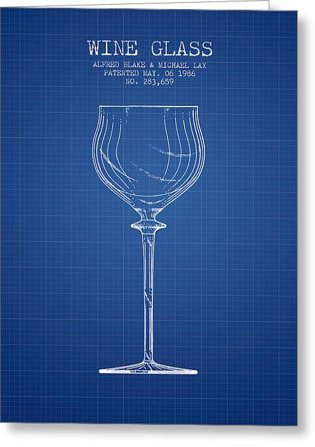 Wine Illustrations Greeting Cards - Wine Glass Patent from 1986 - Blueprint Greeting Card by Aged Pixel