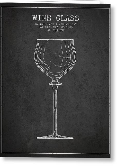 Glass Wall Greeting Cards - Wine Glass Patent from 1986 - Charcoal Greeting Card by Aged Pixel