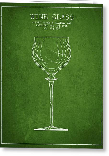 Wine Room Greeting Cards - Wine Glass Patent from 1986 - Green Greeting Card by Aged Pixel