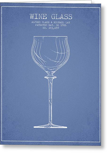 Wine Illustrations Greeting Cards - Wine Glass Patent from 1986 - Light Blue Greeting Card by Aged Pixel