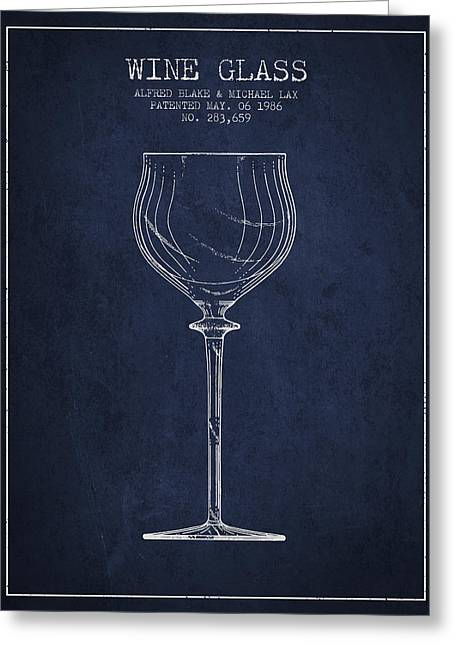 Wine Illustrations Greeting Cards - Wine Glass Patent from 1986 - Navy Blue Greeting Card by Aged Pixel