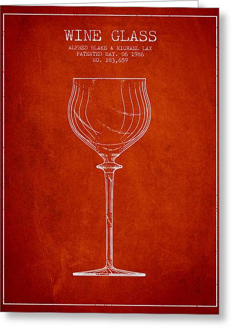 Wine Illustrations Greeting Cards - Wine Glass Patent from 1986 - Red Greeting Card by Aged Pixel