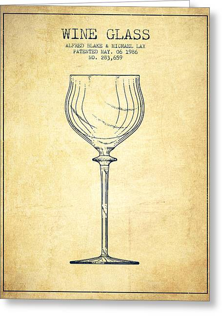 Wine Illustrations Greeting Cards - Wine Glass Patent from 1986 - Vintage Greeting Card by Aged Pixel
