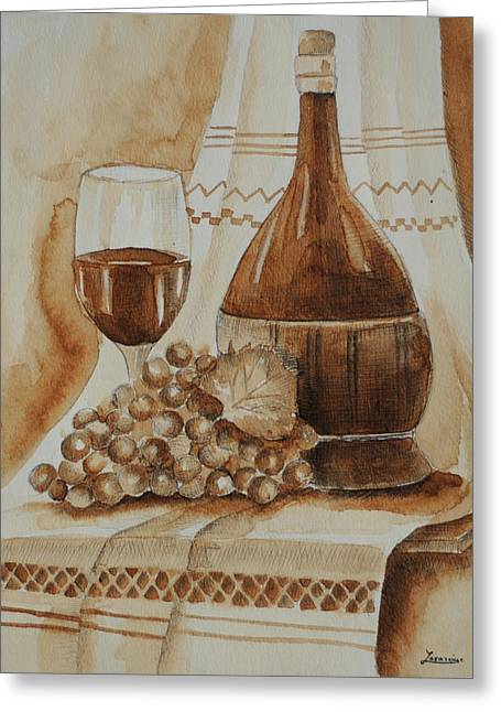 Wine-glass Drawings Greeting Cards - Wine Glass Wine Bottle Greeting Card by Mariana Lazarciuc