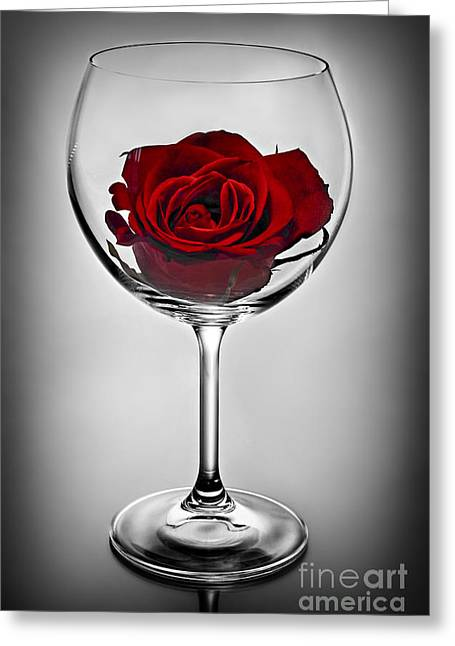 Red Wine Greeting Cards - Wine glass with rose Greeting Card by Elena Elisseeva